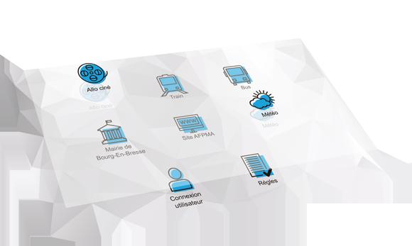 Solution kiosque de conception de menus pour écrans tactiles, création d'interfaces tactiles pour les mairies et collectivités : totem outdoor, pupitre tactile, caisson outdoor